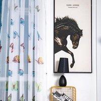 Cortina cortinas estilo europeu borboleta janela cópia pura painel cortinas divisor de quarto para sala de estar cozinha1
