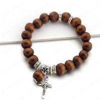 Träpärlor Metal Cross Pendant Armband för kvinnor Män Mode Lucky Smycken Jesus Charm Yoga Bracelet Man Present