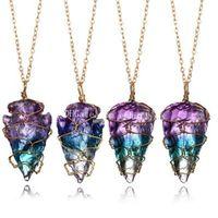 50Pcs Draht eingewickelt Titan Lila Regenbogen Aura Natürliche Rohstoffe Quarz Crystal Rock Edelstein Unregelmäßige Pfeilspitze Amulett-Anhänger Halskette Geschenk