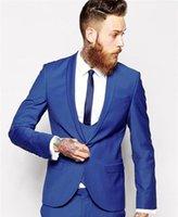 Herrenanzüge Blazers Custom Made Royal Blue Herren Anzug Tux Klassischer Bräutigam Smoking Blazer Prom Mens Bräutigam (Jacke + Hose + Weste + Krawatte) 1
