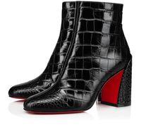 da famosa Designer Brands Mulheres Turela Botas parte inferior vermelha tornozelo Lady inicialização da forma do inverno Booty Chunky Heels Wedding Party Red Sole Sapatinho EU43