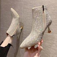 Женская осень зима лодыжки сапоги моды стразы высокие каблуки сапоги женские Zipper Crystal Sexy заостренные ножные туфли женщины # P94Q