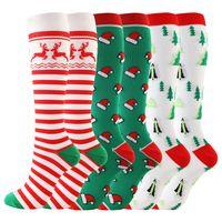 2020 Weihnachten Erwachsene Lange Socken CartoonSnowman Striped gedruckte Frauen-Mann-Mode Xams socking Kreative Sport Winter Home Kleidung E101601