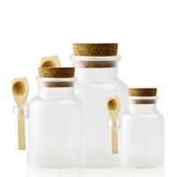 2021 100g 200g Bad Salzflasche 100 ml 200ml Pulver Kunststoffflasche mit Kork Bad Salzglas mit Holzlöffel