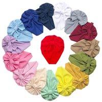Луки узел новорожденного шляпа детская младенческая ткань мягкая хеджирование шансы сплошные цветные шапки девушка пуловер колпачок YL225