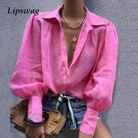 Lipswag sonbahar seksi çentikli yaka bluz kadın fener uzun kollu düğme blusa gevşek gömlek düz renk femme bluzlar tops