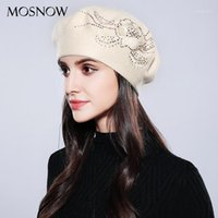 Berets Mosnow Bonnet Femme Mulheres Beret de Algodão Marca de Molha De Moda Flor Outono 2021 Chapéus de Inverno para Caps # MZ7411