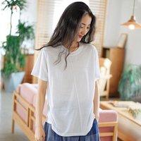 T-shirt das mulheres Johnature Women Casual t - shirts 9 cor O-pescoço manga curta 2021 verão macio sólido t-shirts1