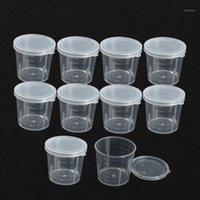 Atacado-10 pçs / lote Plástico Graduado Garrafa de Laboratório Teste de laboratório Medição 30ml Container Cups com Cap Plástico Líquido Medindo Cups1