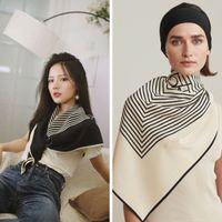 새로운 다기능 기하학적 실크 스카프 스트라이프 인쇄 모조 무서운 여성 자외선 차단제 목도리 대형 스카프 검은 흰색 90x90cm