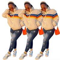 Mulheres Berber Fleece Casacos Casacos Arco-íris Listrado Cordeiro Fleeced Zipper Jaqueta Casacos Sherpa Camisola Blusa Espessura Tops Quentes Streetwear E122903