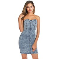 Frauen Sommer Designer-Kleid reizvoller Bügel-Schlauch-Oberseite Backlless Kleidung Sexy Hip Fashion Denim Luxus Appare