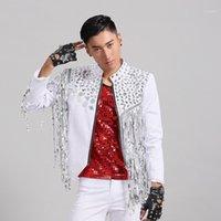 Tassels Loose Coat Paillette Dance Stage Dress NightClub Bar Punk Stade Jazz Blanc Fashion Sequins Blazer Jacket Men1