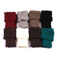 Meias Hosiery 1 Par Mulher Crochet Bota Bota Cuffs Toppers Winter1