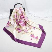 Schals Frauen 90 cm Silk Neck Haar Schal Designer Blume Print Dame Square Foulard Stirnband Zubehör Hand Halstuch