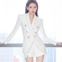 2020 Sonbahar Kış Kaban Yeni Moda Pist Blazer Kadın Şal Yaka Uzun Kollu Çift Breasted Tweed Beyaz Blazer Ceketler