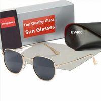 إمرأة أزياء نظارات رجالي نظارات شمسية مثمنة شقة معدنية الشمس الزجاجي عدسات مع حقيبة جلدية هدية عيد الميلاد