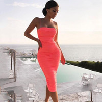 Womens Sexy Bodycon Sling Long Dress Spaghetti strap Pleated...