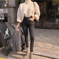 Frühling Sommer Stretch Flansche Denim Jeans Frauen Jeggings Quaste Hohe Taille Hosen Capris Weibliche dünne Bleistift Jeans 20201