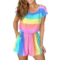 Rainbow Striped O Neck Bodysuit Rompers Women 2020 Summer New Short Sleeve Elastic Waist Pockets Detail Crop Jumpsuit Homewear