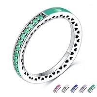 Küme Yüzük Homod Gümüş Renk Radyant Kalpler Parlak Nane Emaye Kraliyet Yeşil Kristaller Kadın Marka Yüzük Nişan Jewelry1