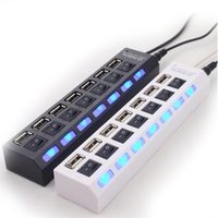 7 Ports LED USB 2.0 Adapter Hub Power on off Switch For PC Laptop BK