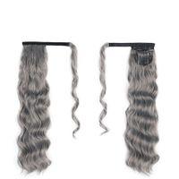 Personalizzato naturale riccio ondulato grigio updo panino soffio coda di cavallo parrucchino avvolgente clip con due pettini facile ponytail estensioni dei capelli grigi