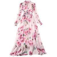 Frauen Runway Rose Blumenmaxikleid Luxus Rosa Blumen-Druck-Laterne-Hülse mit Perlen verziert Stehkragen Partei Chiffon- langen Kleid