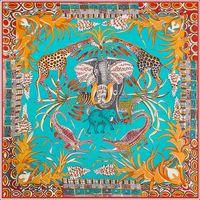 Seide Nackenschal Wrap Frauen Elefant Giraffe Poncho Foulard Femme Damen Joker Große Seideschals Vielseitiges Zubehör 130cm