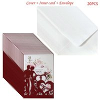 20pcs / set Red Cut Body Invitations Card Invite Sobres Kit Bridal Ducha Compromiso Fiesta FIESTOS 875A