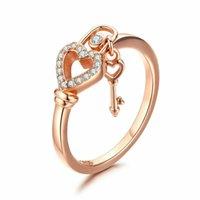 Nuova 925 Silver Rose chiave cuore placcato oro e di blocco cubico zircone anello di cerimonia nuziale per le donne