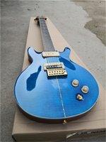 Benutzerdefinierte RS-E-Gitarre mit flammigem Ahornfurnier, Blau, P90-Pickups, Mahagoni-Körper mit SHELL-Inlay, Vogelmosaik