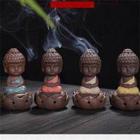 Keramik Räuchergefäß Pansy Monk Sit In Meditation Netter Duftlampen Kleine buddhistischer Mönch Lotus Ornaments Arts And Crafts Thurible 9ys K2