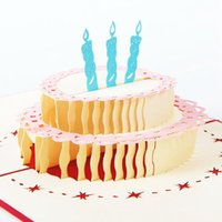 1Pcs 13*15.5cm Cake Multicolor 3D Up Card With Vintage For Best Wishes Of Birthday Greeting Card