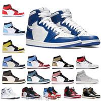 أعلى جودة jumpman 1 1 ثانية عالية أسود تو لا لإعادة بيع الرجال النساء كرة السلة أحذية عشبي unc أسود أبيض رجل إمرأة أحذية رياضية bt1t