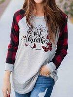 Damskie Bluzki Koszule 2021 Kobiet Bluzka Boże Narodzenie Film Oglądanie Z Długim Rękawem Okrągły Neck Koszula Czerwona Ciężarówka Drzewo Graficzne Kolor Block Holiday
