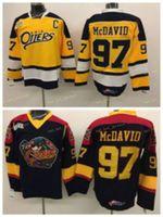NWT Erie Suitters 97 Connor McDavid Koleji Formalar Edmonton Ohl ile CoA Gerileme Connor McDavid Buz Hokey Formalar Erkekler Renk Siyah Sarı