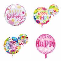 Foiler ballon joyeux anniversaire star rond balloons fête anniversaire décoratif multicolore ballons décorations de mariage fournitures 18 pouces zyy403