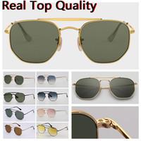 Mens Sunglasses Designer Sunglasses Hexagonal Bridge Duplo Moda óculos de sol UV lentes de vidro com estojo de couro, e todos os pacotes de varejo