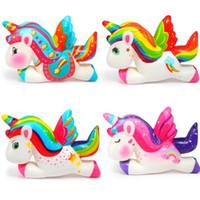 Kawaii красочный единорог Pegasus Squishy медленно растущий хлеб аромат мягкий сжатый игрушка стресс облегчение симуляции веселье для детского рождества