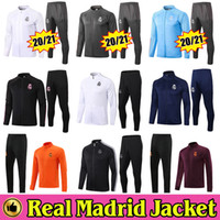 2020 2021 Real Madrid Full Zip Jacket Survêtement de Football 20/21 HAZARD Football Survêtement Pantalon Kit Complet Entraînement Chandal Sweat