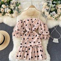 Nelloe Сексуальное плечо без бретелек любовь сердца печать платья сладкие оборки лоскутное мини-платье женщин половые рукава Zip Camis Vestidos Q1229
