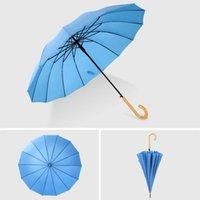 Hölzerne Griff anpassbare Förderung festes Golf stark winddicht Unisex-Regenschirm-kundenspezifischer Schutz UV-Regenschirm-Seeverkehr CCE4318