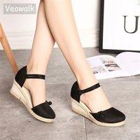 Veowalk Vintage Kadın Sandalet Rahat Keten Tuval Kama Sandalet Yaz Ayak Bileği Kayışı Med Topuk Platform Pompası Espadrilles Ayakkabı