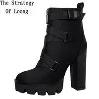 Yeni Bahar Sonbahar Platformu Ayak Bileği Çizmeler Boyutu 36-41 Kadın Çizmeler Süper Yüksek Topuklu Çapraz Bağlı Bayanlar Çalışan Çizmeler 0724 Y200723