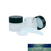 10pcs 5g 10g 15g 20g 30g 50g Jar vidro fosco com garrafas Cap Preto Screw Pots Maquiagem Cuidados com a pele Eye Creme Loção Cosméticos