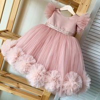 Cute Pink Floral Flower Girls' Dresses Pearls Sleeveless Organza Ball Princess Birthday Party Pageant Gown Kids Formal Wear Custom Made