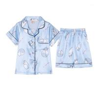 Pijama Bebek Yaz Kısa Kollu Bluz Tshirt + Şort Spor Seti İpek Pijama Seti Tatlı Konfor Kız Erkek Gecelik Giyim1
