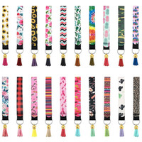 Las mujeres colorido neopreno mitón llavero impreso manera muñeca de la mano la cuerda de seguridad Llaveros bolsa borla colgante llavero llave del coche Holder GGE2128