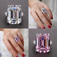 Gioielli unici Real 925 sterling sterling sterling smeraldo taglio grande rosa zaffiro cz diamante promessa festa principessa donne anello cinturino da sposa 16 J2